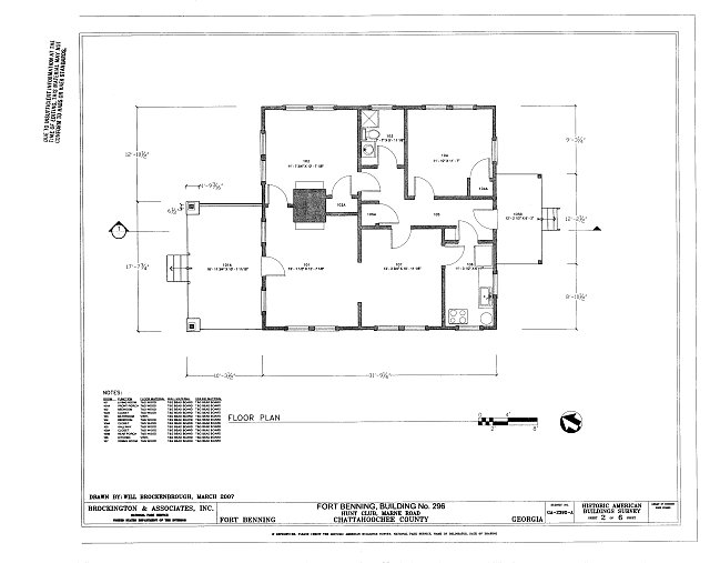 Floor Plan - Fort Benning, Building No. 296, Hunt Club, Marne Road, Fort Benning Military Reservation, Chattahoochee County, GA