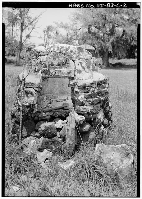 2.  VERTICAL VIEW OF BAKE OVEN, WITH SCALE, NOTE FLASH-FILL DETAIL INSIDE OVEN - Bishop Home, Bake Oven, Moloka'i Island, Kalaupapa, Kalawao County, HI
