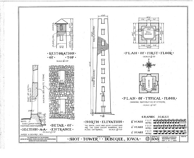 HABS IOWA,31-DUBU,1- (sheet 1 of 1) - Shot Tower, Commercial & East Fourth Streets, Dubuque, Dubuque County, IA