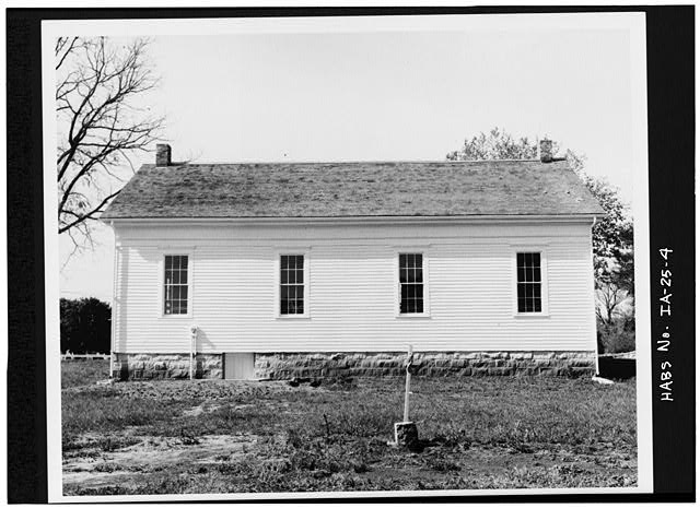 4.  EAST ELEVATION SHORTLY AFTER RESTORATION - Quaker Meetinghouse, Downey Street, Wapsinono Creek Vicinity, West Branch, Cedar County, IA