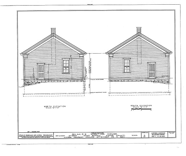 HABS IOWA,16-WEBRA,2- (sheet 7 of 10) - Quaker Meetinghouse, Downey Street, Wapsinono Creek Vicinity, West Branch, Cedar County, IA