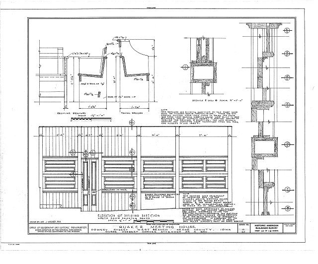 HABS IOWA,16-WEBRA,2- (sheet 10 of 10) - Quaker Meetinghouse, Downey Street, Wapsinono Creek Vicinity, West Branch, Cedar County, IA