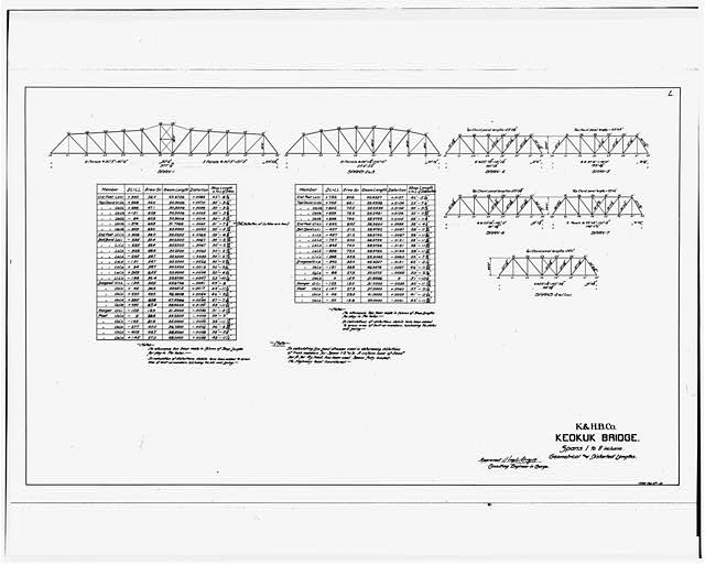 101.  PHOTOCOPY OF DRAWING, SPANS 1 - 11, GEOMETRICAL AND DISTORTED LENGTHS - Keokuk & Hamilton Bridge, Spanning Mississippi River, Keokuk, Lee County, IA