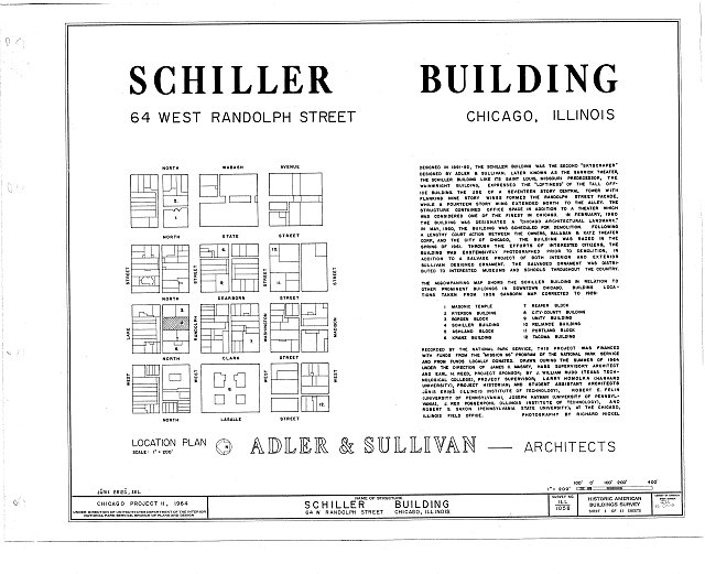 HABS ILL,16-CHIG,60- (sheet 1 of 11) - Schiller Building, 64 West Randolph Street, Chicago, Cook County, IL