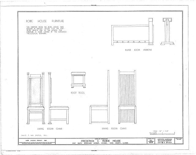 HABS ILL,16-CHIG,33- (sheet 12 of 14) - Frederick C. Robie House, 5757 Woodlawn Avenue, Chicago, Cook County, IL