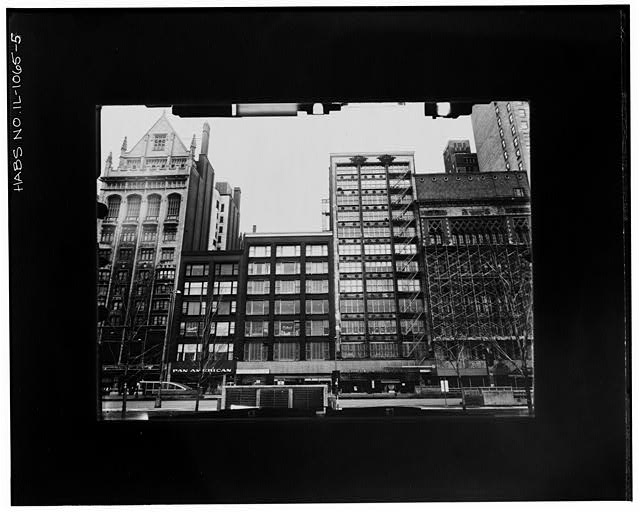5.  EAST ELEVATION--INCLINED Copy photograph of photogrammetric plate LC-HABS-GS05-T-3224-302R. - Gage, Keith & Ascher Buildings, 18 & 30 South Michigan Avenue, Chicago, Cook County, IL