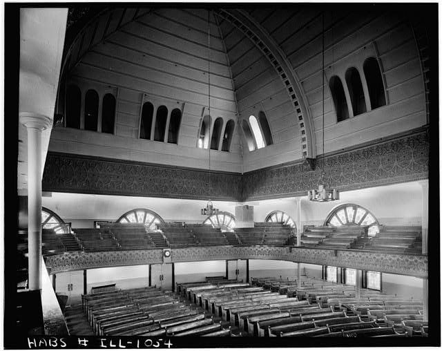 4.  Historic American Buildings Survey Harold Allen, Photographer June 1964 AUDITORIUM, FROM BALCONY-- LOOKING NORTHWEST - Kehilath Anshe Ma'ariv Synagogue, 3301 South Indiana Avenue, Chicago, Cook County, IL