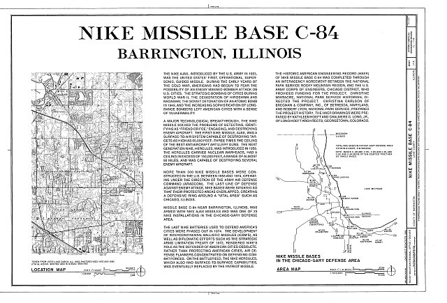 HAER ILL, 49-BARR.V, 1- (sheet 1 of 4) - NIKE Missile Base C-84, East of Quentin Road between LAke Cook &amp; Long Grove Roads, Barrington, Cook County, IL