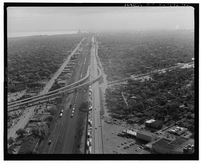 13.  AERIAL VIEW, LOOKING SE ALONG CHICAGO SKYWAY. STONY ISLAND AVENUE RAMPS IN MIDDLE LEFT OF FRAME. - Chicago Skyway Toll Bridge, I-90, for 7.8 miles from South State Street to Indiana state line, Chicago, Cook County, IL
