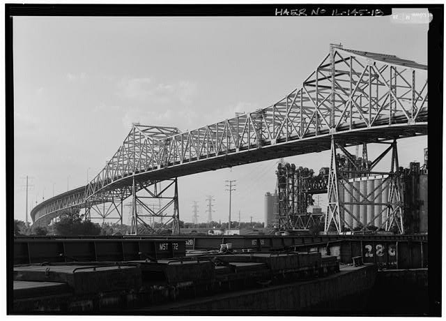 18.  LOOKING NORTH AT MAIN SPAN, FROM FIELD ADJACENT TO 100TH STREET BRIDGE. - Chicago Skyway Toll Bridge, I-90, for 7.8 miles from South State Street to Indiana state line, Chicago, Cook County, IL