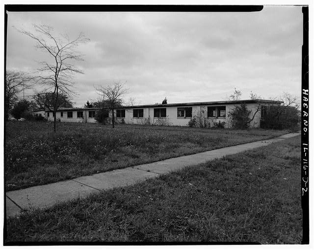2.  BARRACKS, LONGER BUILDING, REAR SIDE, LOOKING NORTHEAST. - NIKE Missile Base C-84, Longer Barracks, South of Launch Area Entrance Drive, Barrington, Cook County, IL