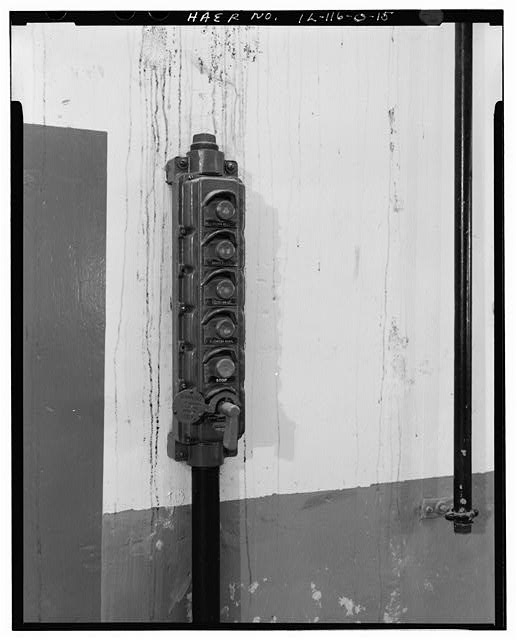 15.  MAGAZINE P INTERIOR, ELEVATOR OPERATIONS BUTTON DETAIL. - NIKE Missile Base C-84, Underground Storage Magazines & Launcher-Loader Assemblies, Easternmost portion of launch area, Barrington, Cook County, IL