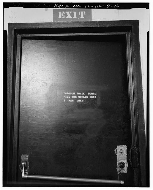 16.  MAGAZINE P INTERIOR, WRITING ON DOOR. - NIKE Missile Base C-84, Underground Storage Magazines & Launcher-Loader Assemblies, Easternmost portion of launch area, Barrington, Cook County, IL