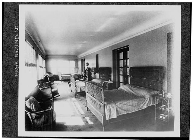 8.  Historic American Buildings Survey PHOTOCOPY CA. 1916 OF SLEEPING PORCH, AT NORTH END CAPABLE OF SLEEPING SIX. Original in Collections of Marian College - James A. Allison Mansion, 3200 Coldspring Road, Indianapolis, Marion County, IN