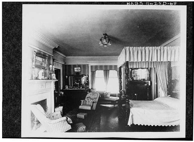 10.  Historic American Buildings Survey PHOTOCOPY CA. 1916 OF GUEST BEDROOM, UNUSUAL PARQUET FLOORS AND PINK MARBLE FIREPLACE Original in Collections of Marian College - James A. Allison Mansion, 3200 Coldspring Road, Indianapolis, Marion County, IN