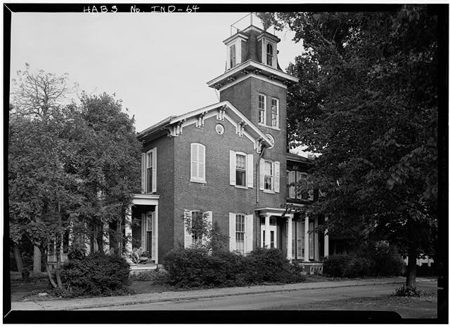 August 1970 GENERAL VIEW OF EAST FRONT TAKEN FROM SOUTHEAST - Bates-Hendricks House, 1526 South New Jersey Street, Indianapolis, Marion County, IN