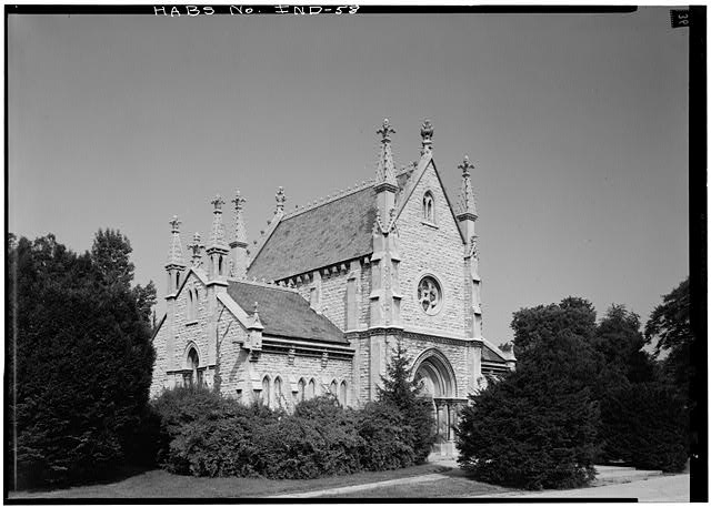 August 1970 EAST ELEVATION, FROM SOUTHEAST - Crown Hill Cemetery, Chapel & Vault, Thirty-fourth Street, Indianapolis, Marion County, IN