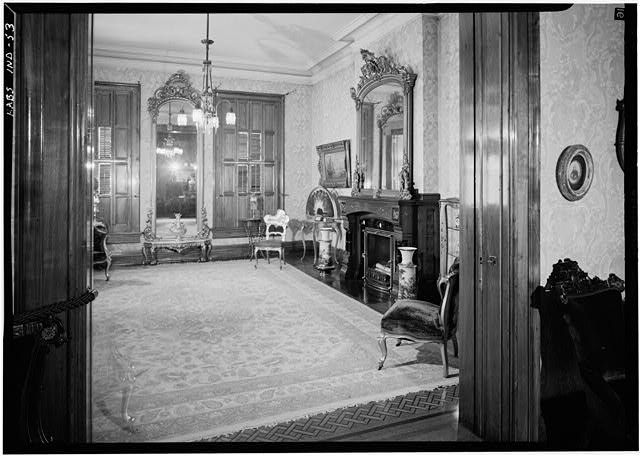August 1970 EAST FRONT (LIVING) ROOM FIRST FLOOR FROM WEST - Benjamin Harrison House, 1230 North Delaware Street, Indianapolis, Marion County, IN