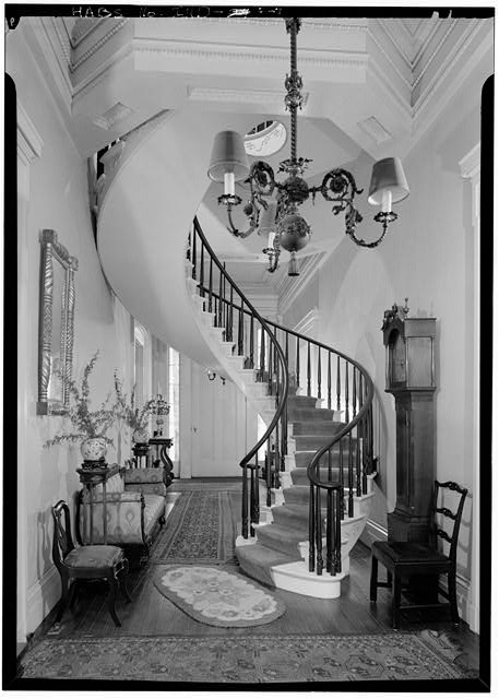 11.   September 1971 GENERAL VIEW CIRCULAR STAIR, FIRST FLOOR FROM NORTH - Captain Charles L. Shrewsbury House, 301 West First Street (High & Poplar Streets), Madison, Jefferson County, IN