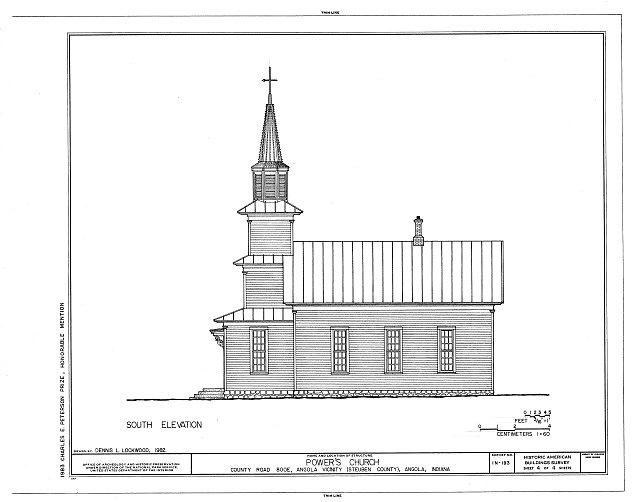 HABS IND,76-ANG.V,1- (sheet 4 of 4) - Power's Church, County Road 800E, Angola, Steuben County, IN