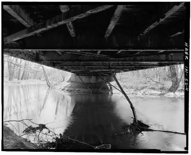 4.  UNDERSIDE OF DECK, FACING SOUTH - Hamilton County Bridge No. 218, Greenfield Pike, spanning Stoney Creek, Noblesville, Hamilton County, IN