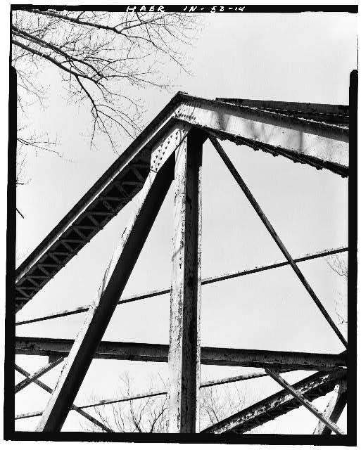 14.  DETAIL VIEW OF TRUSS - Hamilton County Bridge No. 218, Greenfield Pike, spanning Stoney Creek, Noblesville, Hamilton County, IN