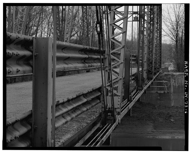 6.  DETAIL VIEW OF GUARDRAIL, LATTICE WORK, PINNED CONNECTIONS, TURNBUCKLES, DECK EDGE, LOWER CHORD - Kidner Bridge, Spanning Mississinewa River at County Road 700 South, Upland, Grant County, IN