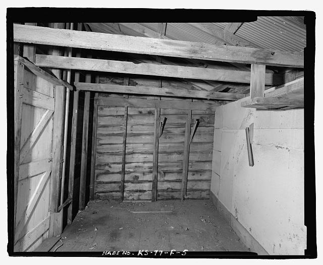 5.  Interior view of east tool shed, looking west - George Spangerberger Farmstead, East Tool Shed, 2012 West Illinois Avenue, South Hutchinson, Reno County, KS