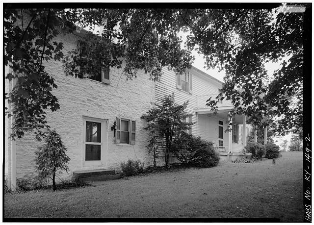 2.  VIEW OF STONE SECTION OF MAIN HOUSE, FROM SOUTHEAST - Spring Bank Farm, 7506 Old Shepherdsville Road, Louisville, Jefferson County, KY