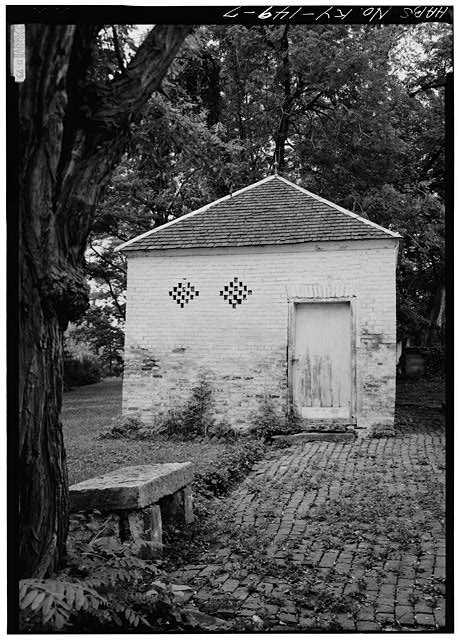 7.  GENERAL VIEW OF SMOKEHOUSE, CLOSER - Spring Bank Farm, 7506 Old Shepherdsville Road, Louisville, Jefferson County, KY