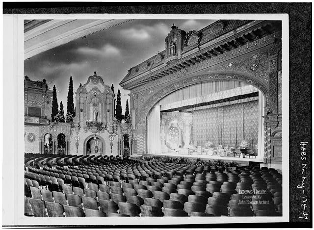 47.  DIAGONAL VIEW OF ORCHESTRA, PROSCENIUM AND STAGE, CURTAINS OPEN - Loew's Theatre, 625 South Fourth Street, Louisville, Jefferson County, KY