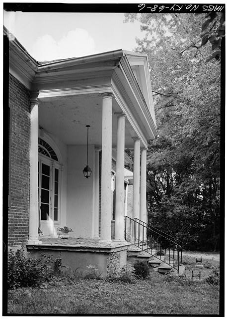 DETAIL OF PORTICO, SOUTHWEST (FRONT) ENTRANCE, FROM WEST - Ridgeway, 4095 Massey Avenue, Saint Matthews, Jefferson County, KY