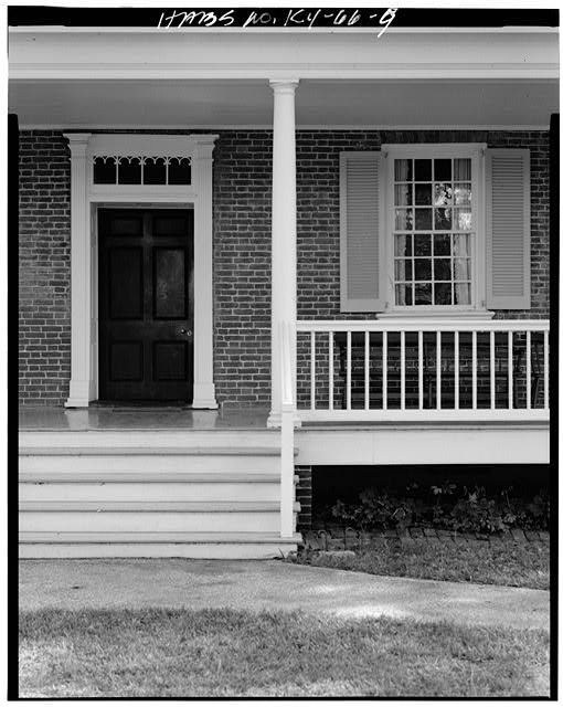NORTH VIEW OF REAR ENTRANCE, WINDOW AND PORCH - Croghan House, 561 Blankenbaker Lane, Louisville, Jefferson County, KY