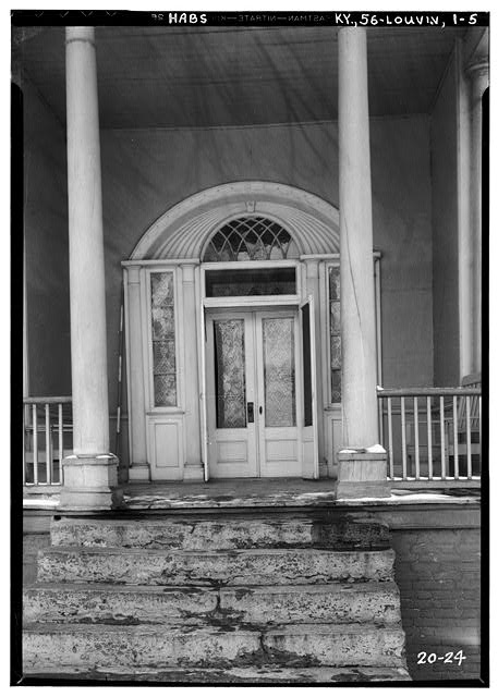 5.  Historic American Buildings Survey Theodore Webb, Photographer, Mar. 19, 1934 DETAIL OF FRONT ENTRANCE (EXTERIOR - WEST) - Farmington, 3033 Bardstown Road, Louisville, Jefferson County, KY