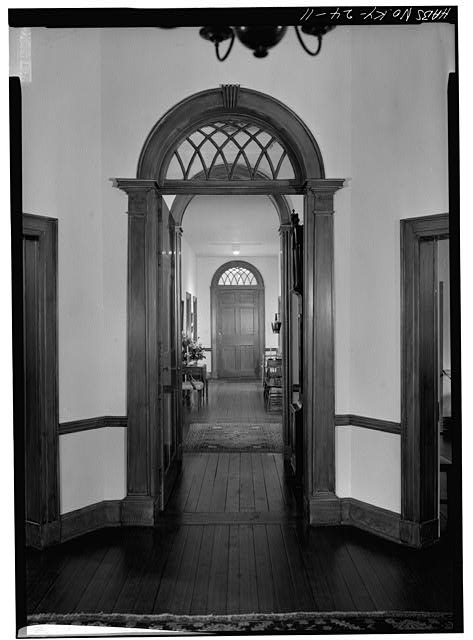 24.  CENTRAL HALLWAY, FROM SOUTHWEST TO NORTHEAST (REAR), FIRST FLOOR - Farmington, 3033 Bardstown Road, Louisville, Jefferson County, KY