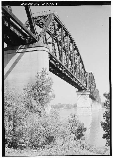 5.  View from the north showing concrete piers on land, and masonry piers supporting the center spans. - Big Four Bridge, Spanning Ohio River, Louisville, Jefferson County, KY