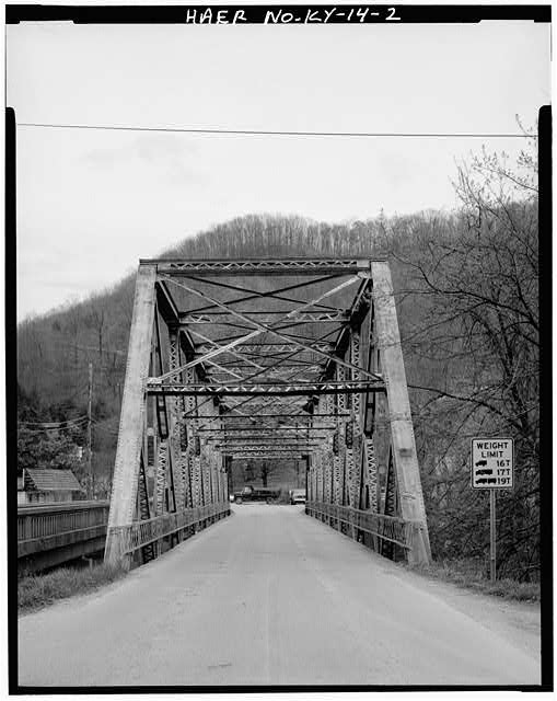 2.  VIEW OF EAST APPROACH PORTAL - Kentucky Route 840 Bridge, Spanning Cumberland River, Loyall, Harlan County, KY