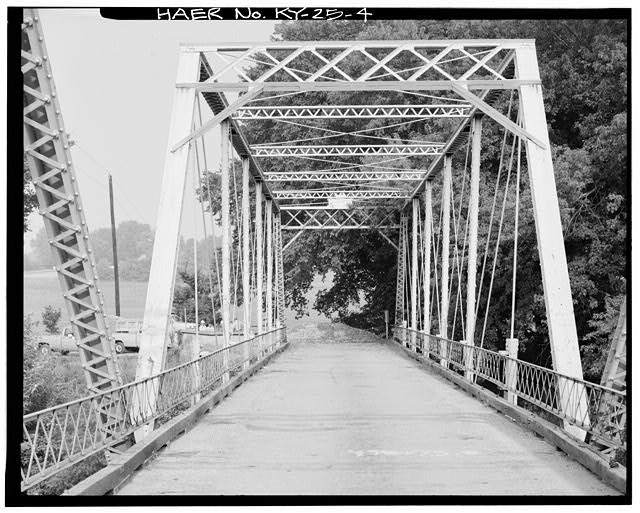 4.  VIEW OF WEST TRUSS TAKEN FROM THE EAST - Kentucky State Route 1032 Bridge, Spanning South Fork of Licking River, Berry, Harrison County, KY