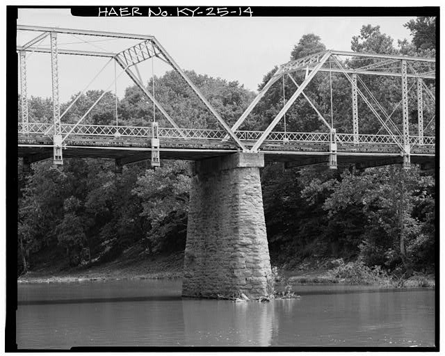 14.  VIEW OF BRIDGE PIER TAKEN FOR THE SOUTH - Kentucky State Route 1032 Bridge, Spanning South Fork of Licking River, Berry, Harrison County, KY