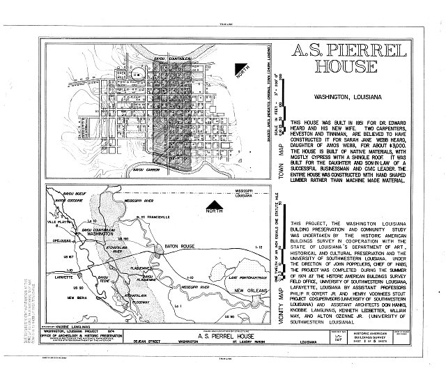 HABS LA,49-WASH,7- (sheet 1 of 5) - A. S. Pierrel House, De Jean Street, Washington, St. Landry Parish, LA