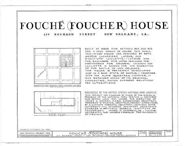 HABS LA,36-NEWOR,78- (sheet 1 of 5) - Fouche House, 619 Bourbon Street, New Orleans, Orleans Parish, LA