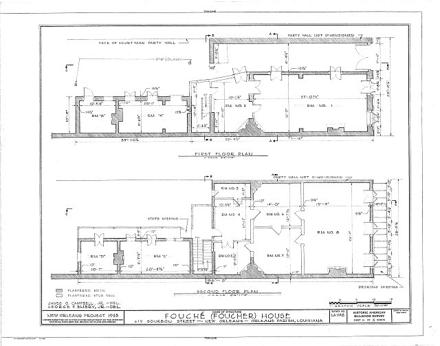 HABS LA,36-NEWOR,78- (sheet 2 of 5) - Fouche House, 619 Bourbon Street, New Orleans, Orleans Parish, LA