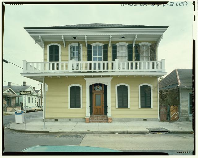 STREET (FRONT) ELEVATION (Duplicate of HABS LA-27-E-1) - Faubourg Marigny District, 1463 Pauger Street (House), New Orleans, Orleans Parish, LA
