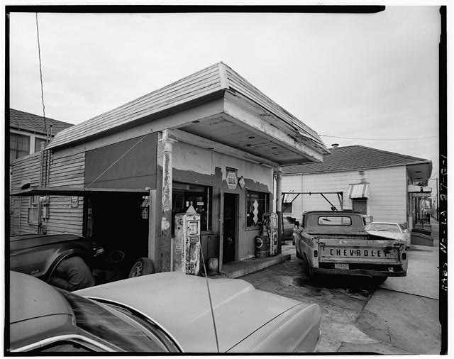 1.  GENERAL VIEW OF STREET FACADES - Faubourg Marigny District, Burgundy & St. Roch Streets (Gas Station), New Orleans, Orleans Parish, LA
