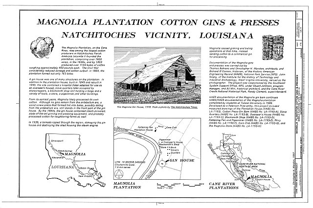 HAER LA,35-NATCH.V,3- (sheet 1 of 5) - Magnolia Plantation, Cotton Gins & Presses, LA Route 119, Natchitoches, Natchitoches Parish, LA