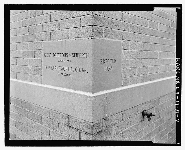 Limestone cornerstone at North front building corner, showing 1935 erection date and name of architect and contractor - Huey P. Long Bridge, Administration Building, 5100 Jefferson Highway, Jefferson, Jefferson Parish, LA
