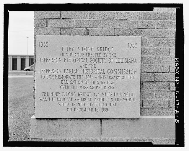 Marble fiftieth year commemorative plaque (1935-1985) on South front building corner - Huey P. Long Bridge, Administration Building, 5100 Jefferson Highway, Jefferson, Jefferson Parish, LA
