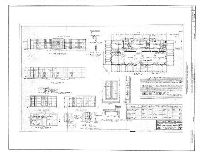 Elevations, Plans & Details - Huey P. Long Bridge, Administration Building, 5100 Jefferson Highway, Jefferson, Jefferson Parish, LA