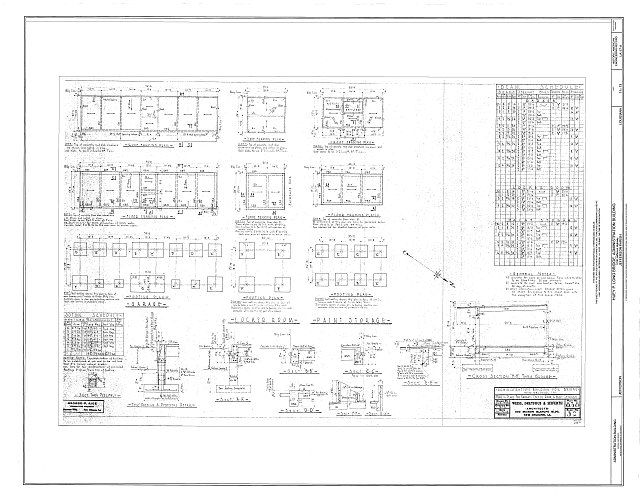 Framing Plans for Garage, Locker Room, & Paint Storage - Huey P. Long Bridge, Administration Building, 5100 Jefferson Highway, Jefferson, Jefferson Parish, LA