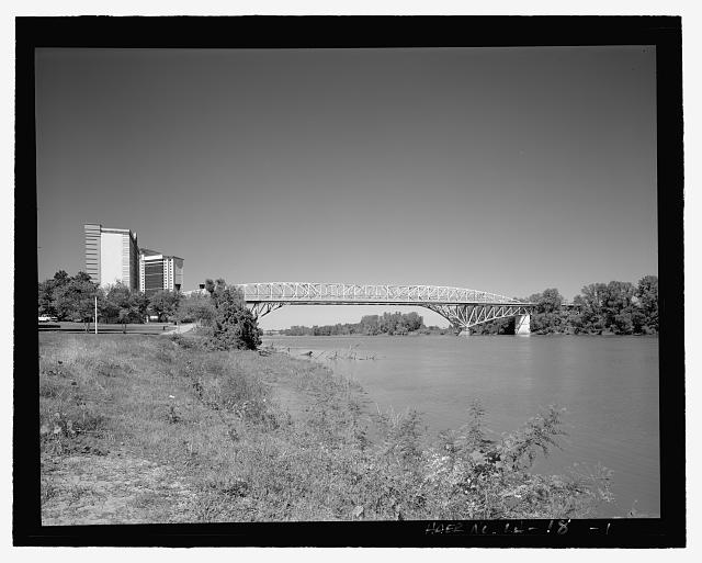 Elevation, view looking north - Long-Allen Bridge, Texas Street Bridge, Spanning the Red River on US 80, Shreveport, Caddo Parish, LA